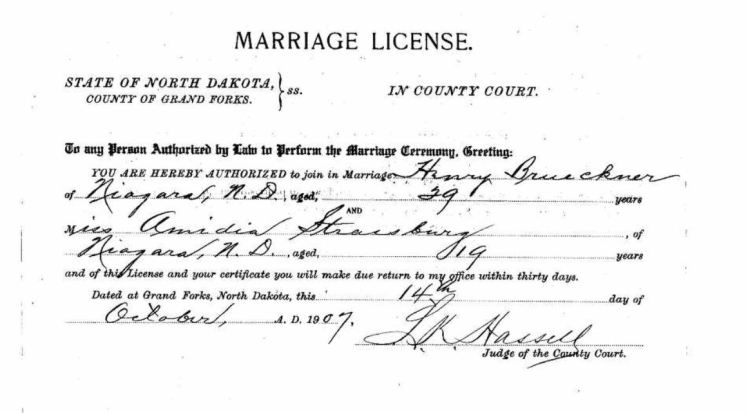 Heinrich Brueckner Amedia Strassburg marriage license ND