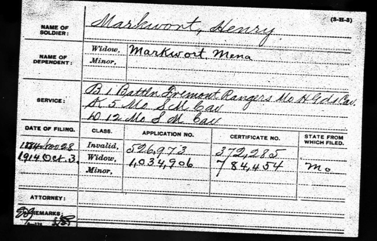 Henry Markwort Civil War pension record