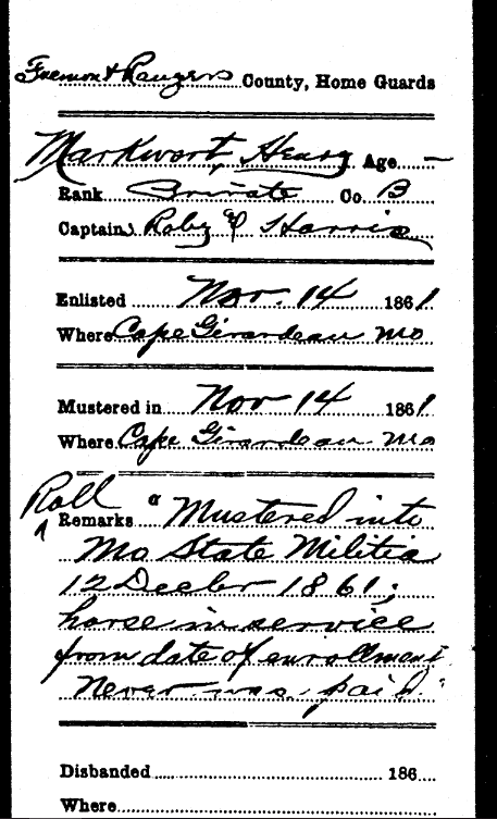 Henry Markwort Civil War service record