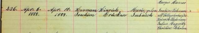 Herman Brueckner baptism record Salem Farrar MO
