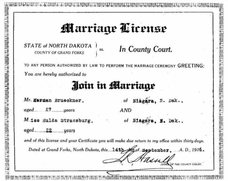 Herman Brueckner Hulda Strassburg marriage license ND