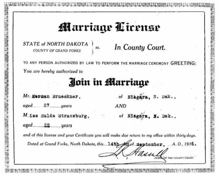 Herman Brueckner Hulda Strassburg marriage license ND