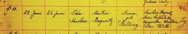 Ida Magwitz baptism record Grace Uniontown MO