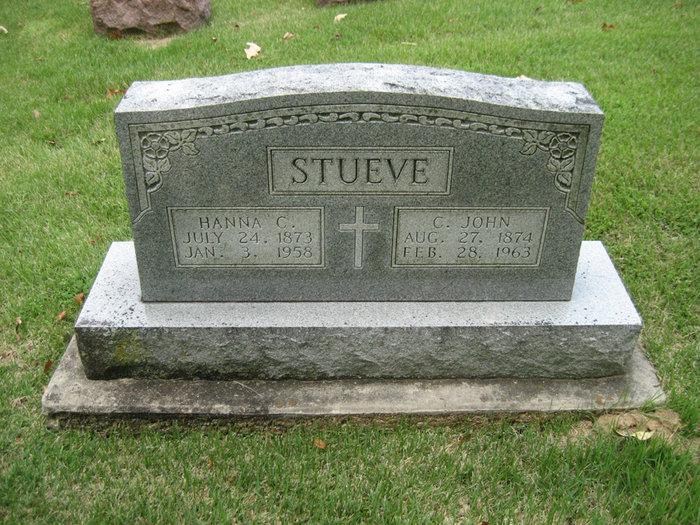 John and Hannah Stueve gravestone Zion Longtown MO