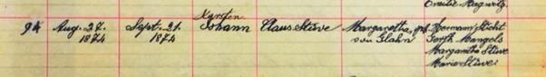 John Stueve baptism record Salem Farrar MO