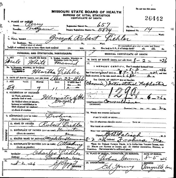 Joseph Fiehler death certificate