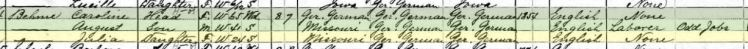 Julia Boehme 1910 census Dubuque IA
