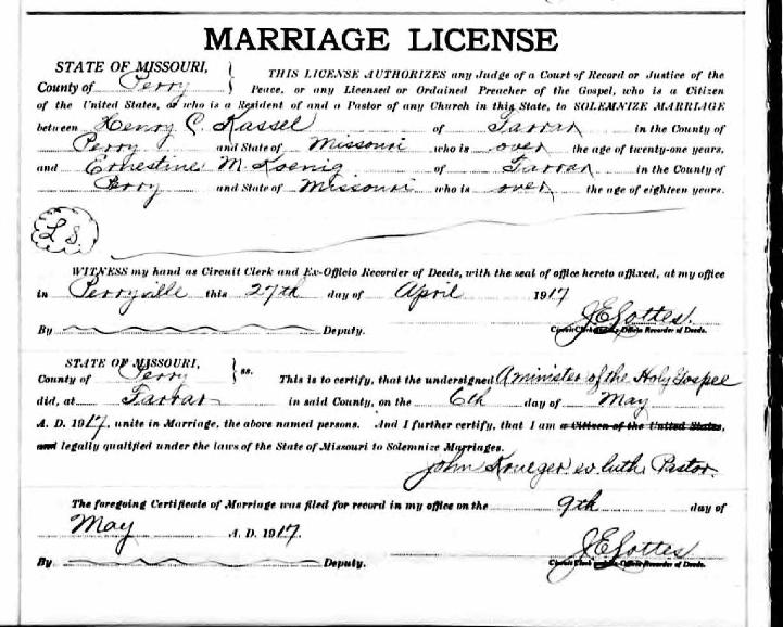 Kassel Koenig marriage license