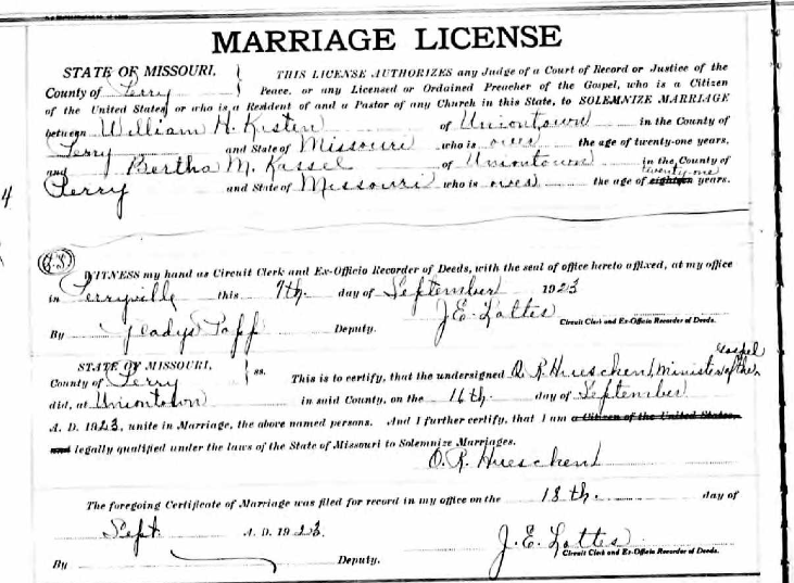 Kasten Kassel marriage license