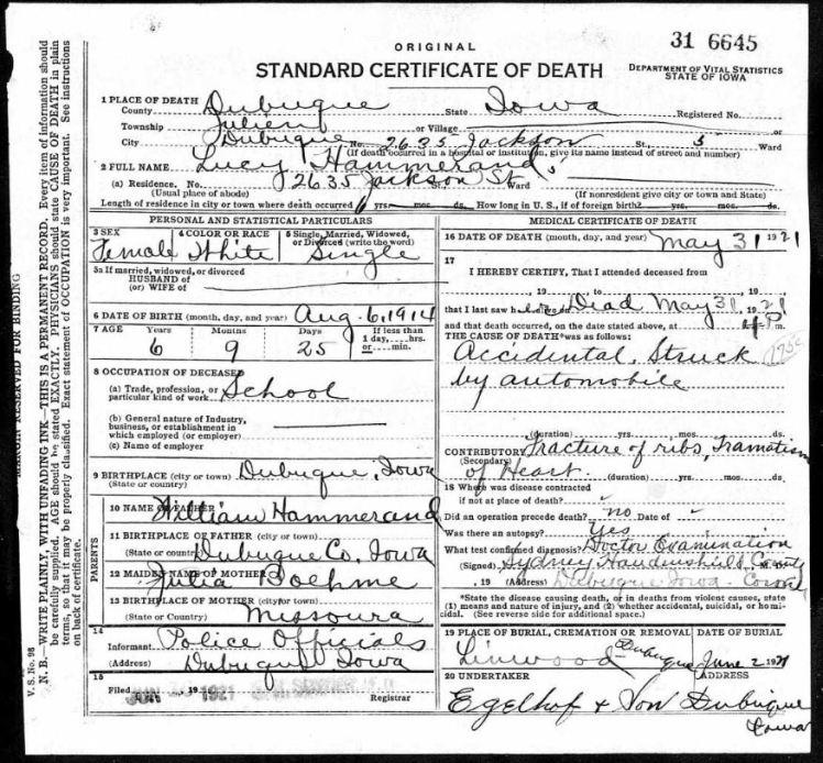 Lucy Hammerand death certificate