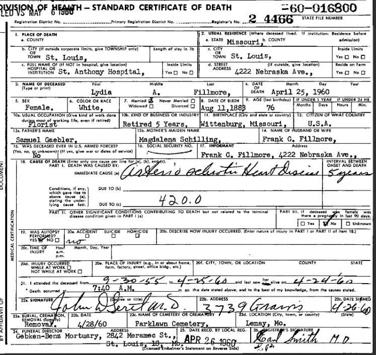 Lydia Fillmore death certificate