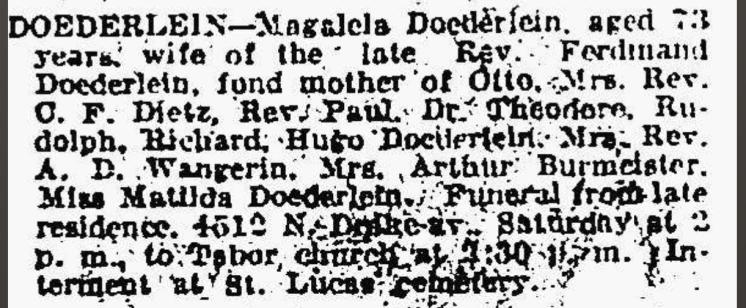 Magdalena Doederlein obituary