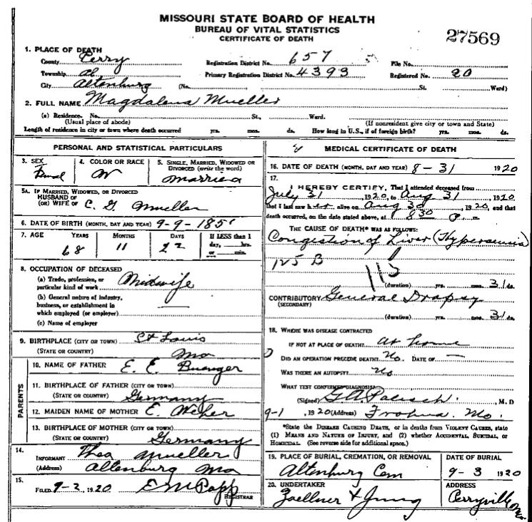 Magdalena Mueller death certificate