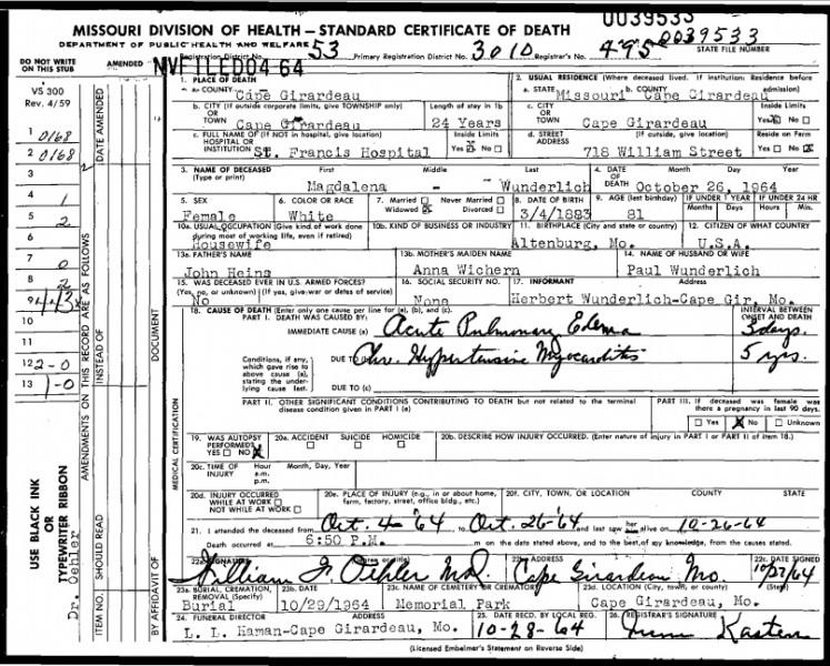 Magdalena Wunderlich death certificate