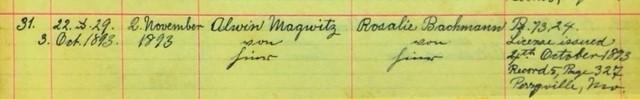 Magwitz Bachmann marriage record Salem Farrar MO