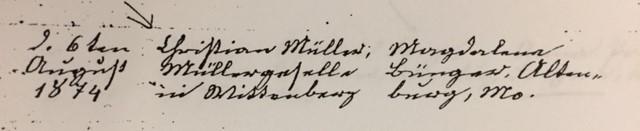 Mueller Buenger marriage record Trinity Altenburg