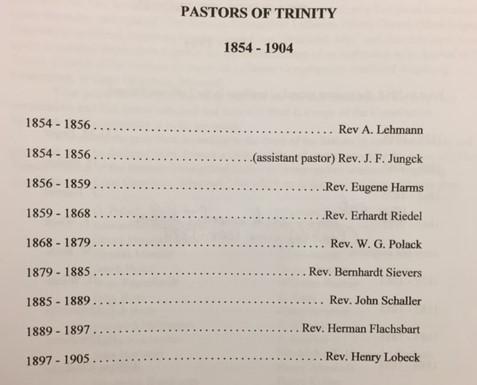 Pastors of Trinity Cape Girardeau 1854-1904