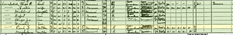 Paul Wunderlich 1940 census Cape Girardeau County MO
