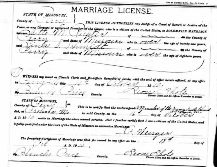 Richter Schmidt marriage license