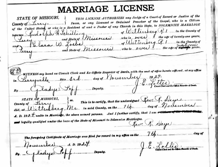 Schilling Loebs marriage license