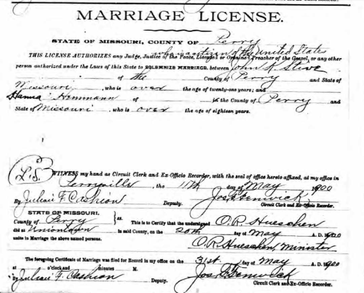 Stueve Hemmann marriage license