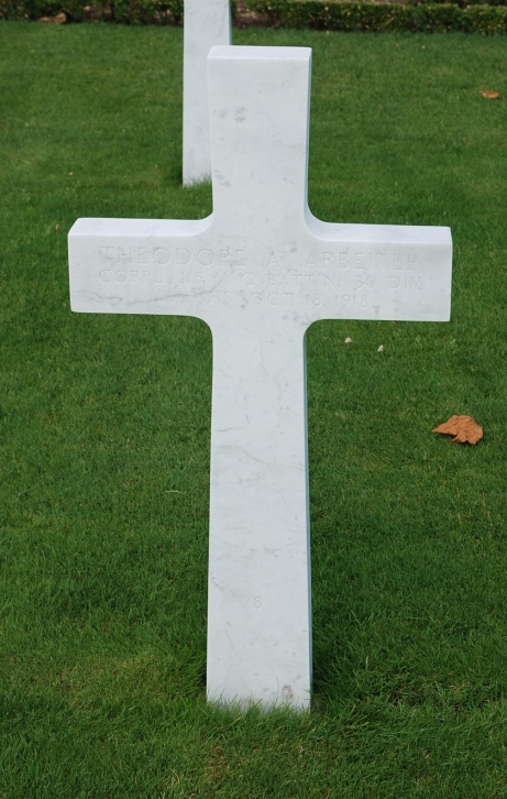 Theodore Arbeiter cross Somme American Cemetery France