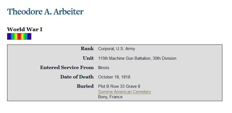 Theodore Arbeiter Somme Cemetery record