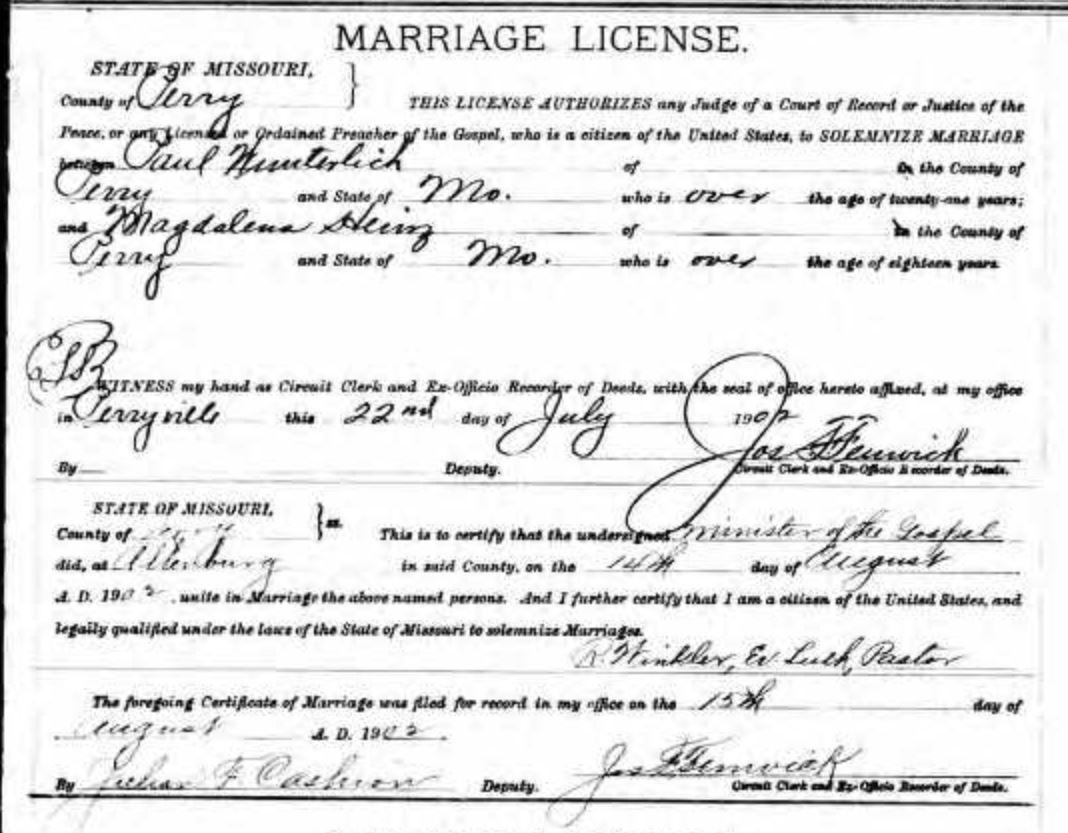 Wunderlich Heins marriage license