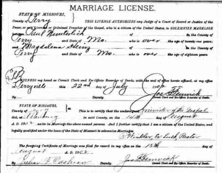 Wunderlich Heins marriage license