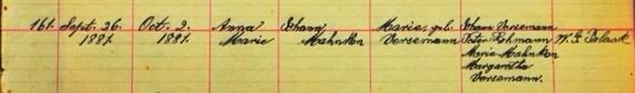 Anna Marie Mahnken baptism record Salem Farrar MO