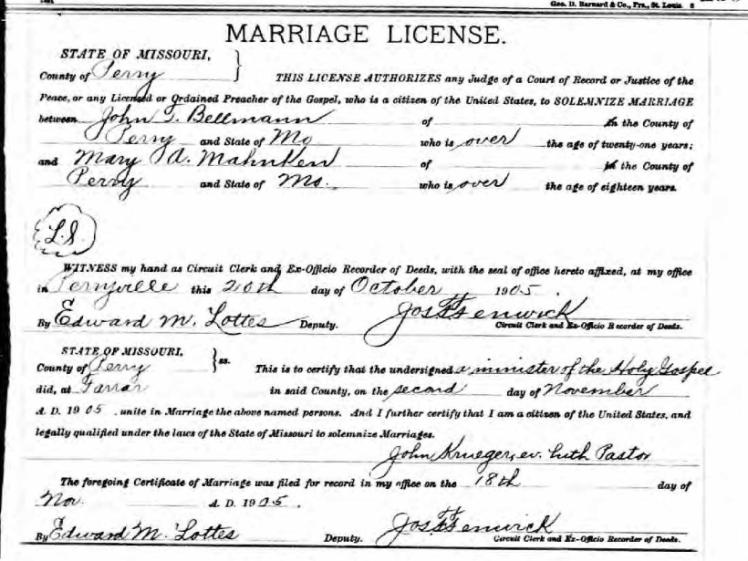 Bellmann Mahnken marriage license