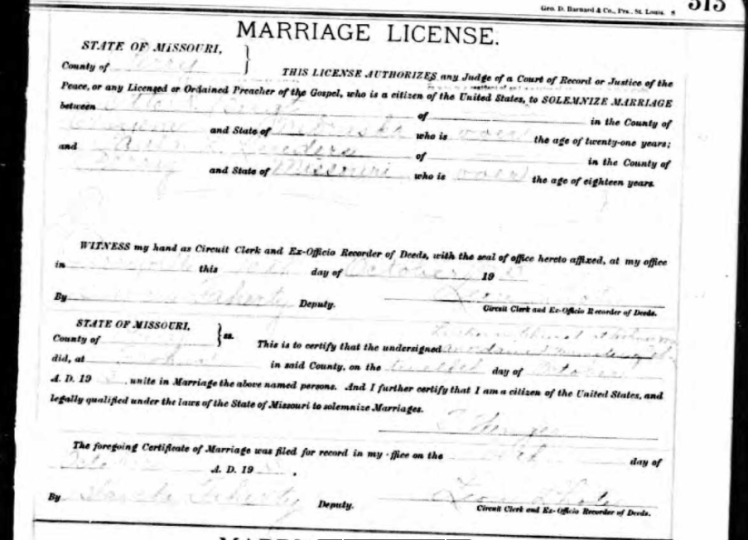 Bergt Lueders marriage license