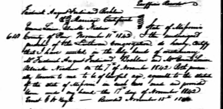 Boehlau Niedner marriage record Perry County