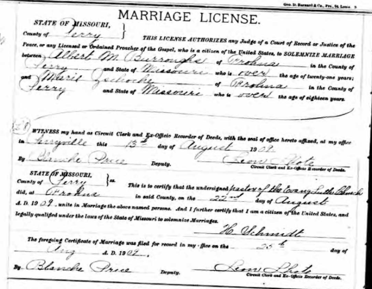 Burroughs Zschoche marriage license