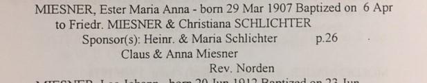 Esther Miesner baptism record Zion Crosstown MO