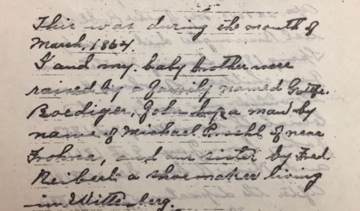 Frank Burroughs note about 1864 entry into Perry County