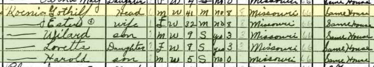Gotthilf Koenig 1940 census Bois Brule MO