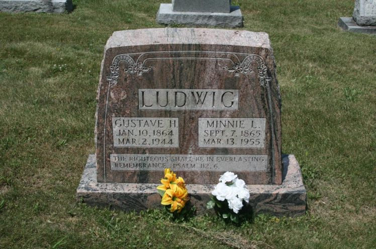 Gustav and Minnie Ludwig gravestone St. John's UCC Fruitland MO