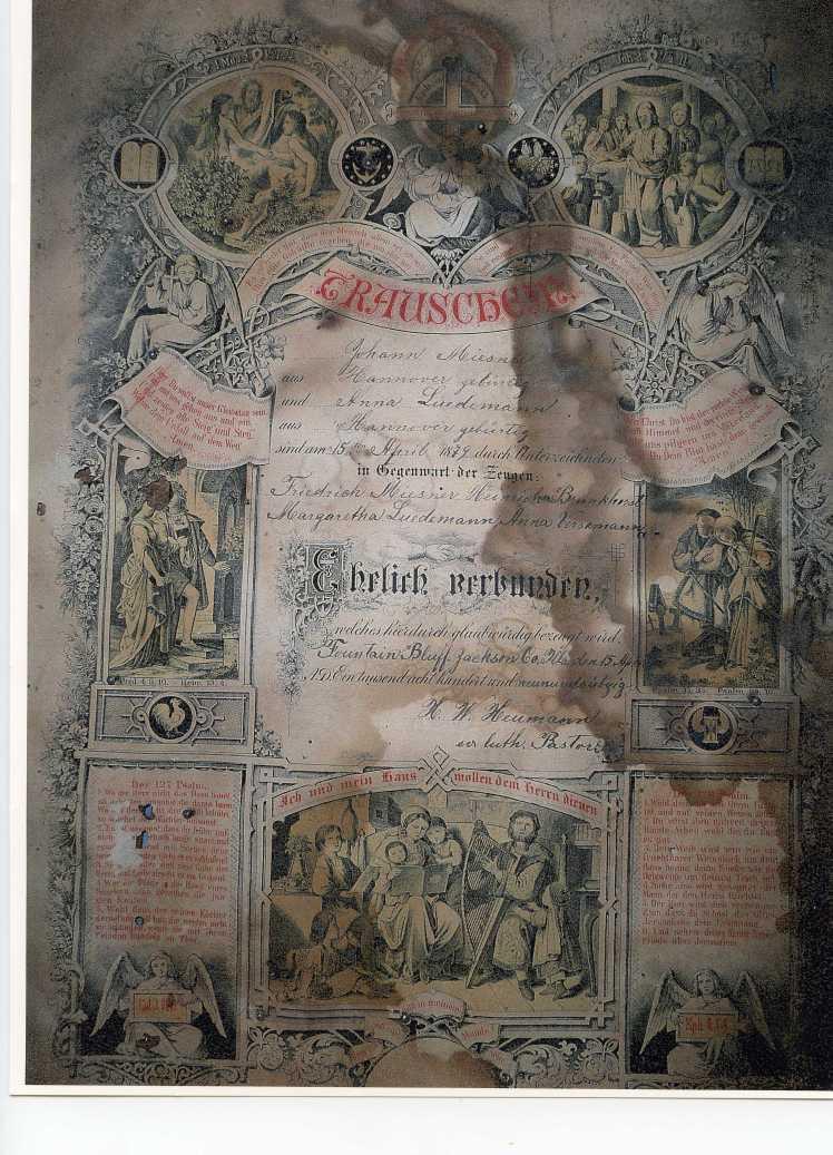 Johann and Anna Luedemann Miesner marriage certificate