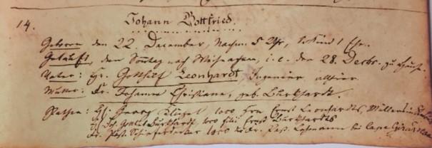 Johann Gottfried Leonhardt baptism record Trinity Altenburg MO
