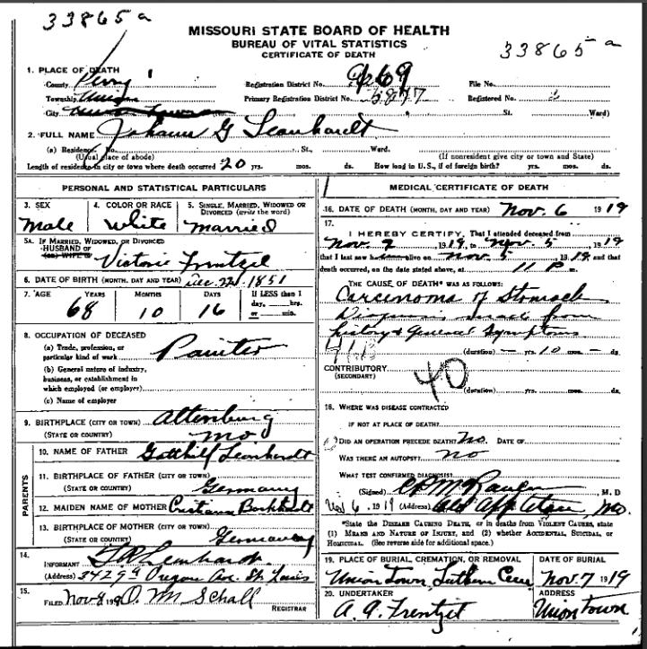 Johann Leonhardt death certificate