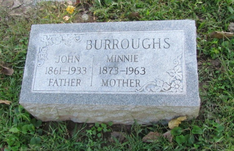 John and Minnie Burroughs gravestone New Bethlehem St. Louis MO