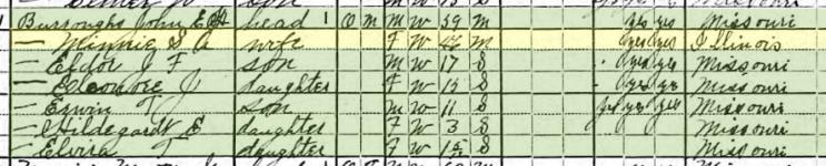 John Burroughs 1920 census Brazeau Township MO