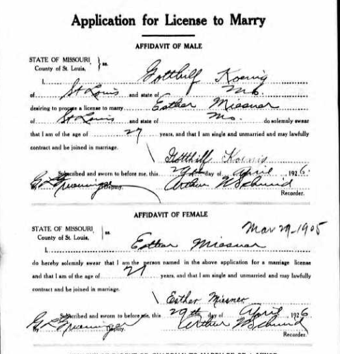 Koenig Miesner marriage license application
