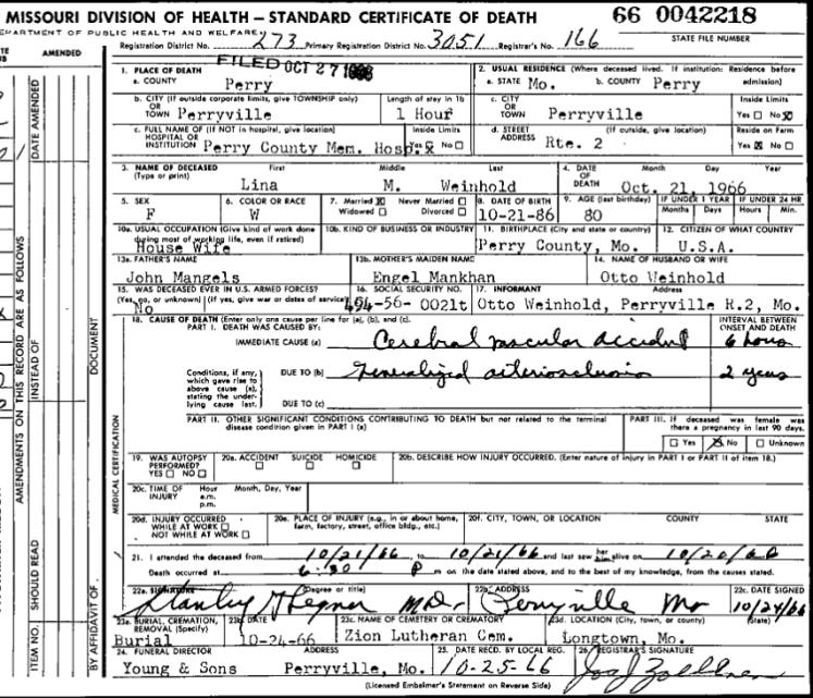 Lina Weinhold death certificate