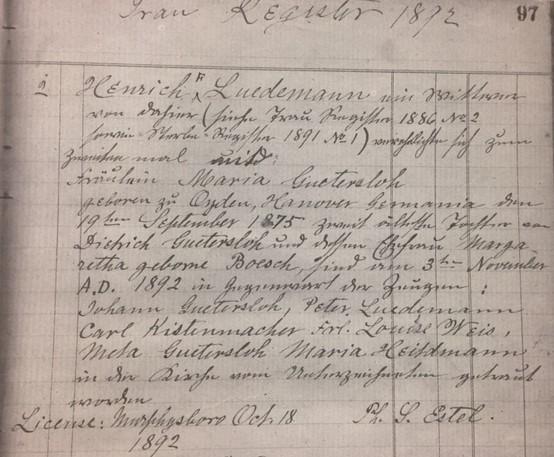 Luedemann Guetersloh marriage record Christ Jacob IL