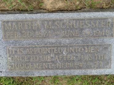Martha Schuessler gravestone Concordia Frohna MO