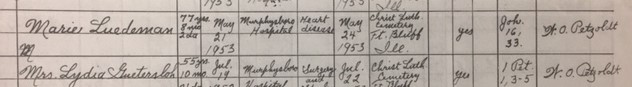 Mary Luedemann death record Christ Jacob IL