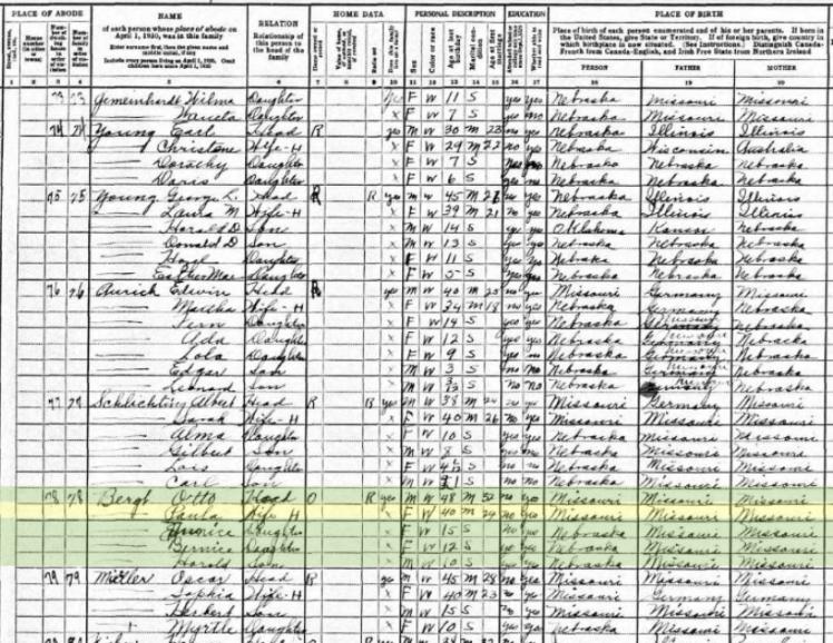 Otto Bergt 1930 census Davison NE