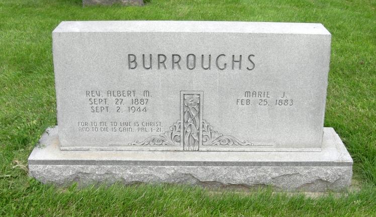 Rev. Albert and Marie Burroughs gravestone Grand Island Cemetery